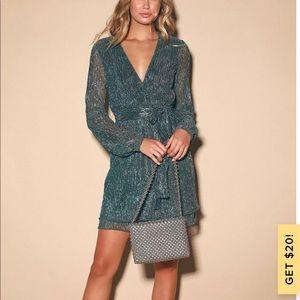Gold and Teal Blue Metallic Mini Dress